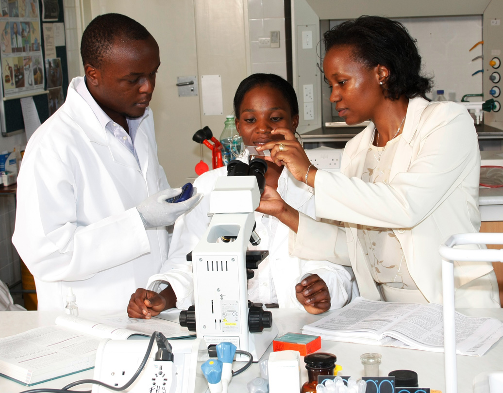 Students and lecturer working on an experiment in the lab