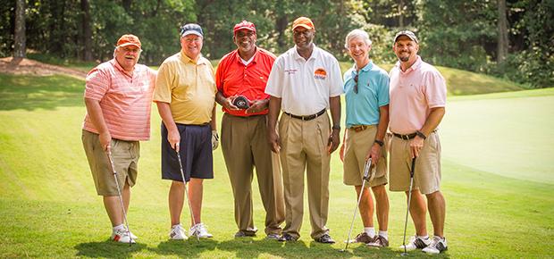 Rev. Mitch Houston and Rev. John Hipp with tournament patron, Bishop Jonathan Holston, Mr. James Salley and golf team mates.