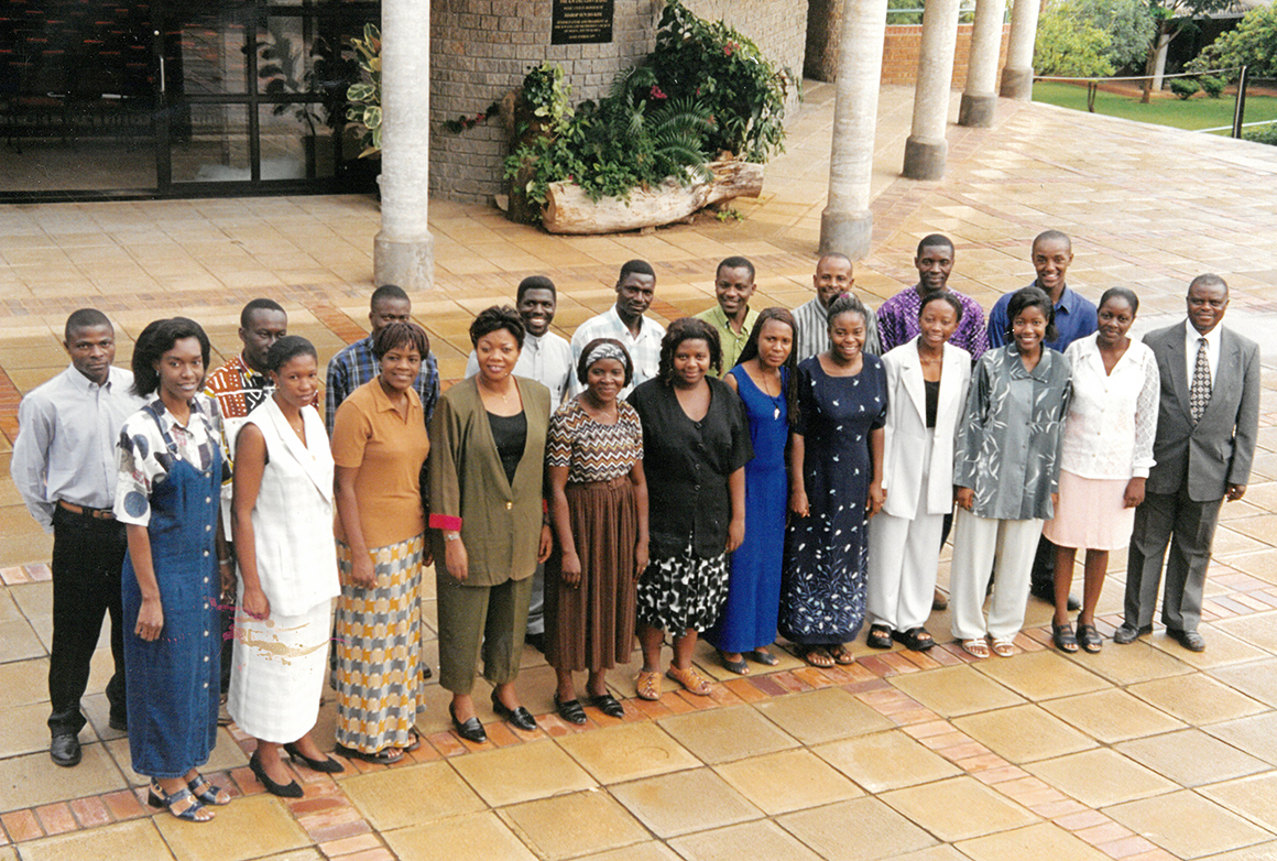 The AU Chamber Choir with Dr. Matsikenyiri prior to its departure for the USA in 2000.