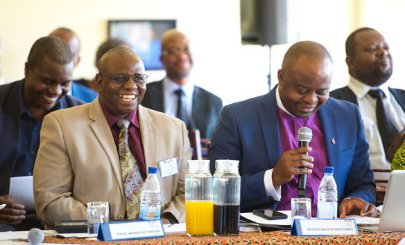 Bishop Mande Muyombo, (right), is the first AU graduate to chair the Africa University Board of Directors.