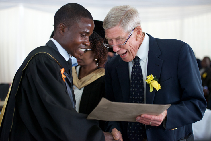 Dr. Ed Dodge presented the Bishop Ralph and Mrs. Eunice Dodge Prize for the best student in the MPH program to Paddington Mundagowa.