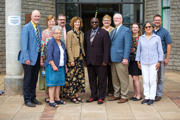 Bishop Laurie Haller led a 10-person group from the Iowa Conference on a familiarization visit to AU.
