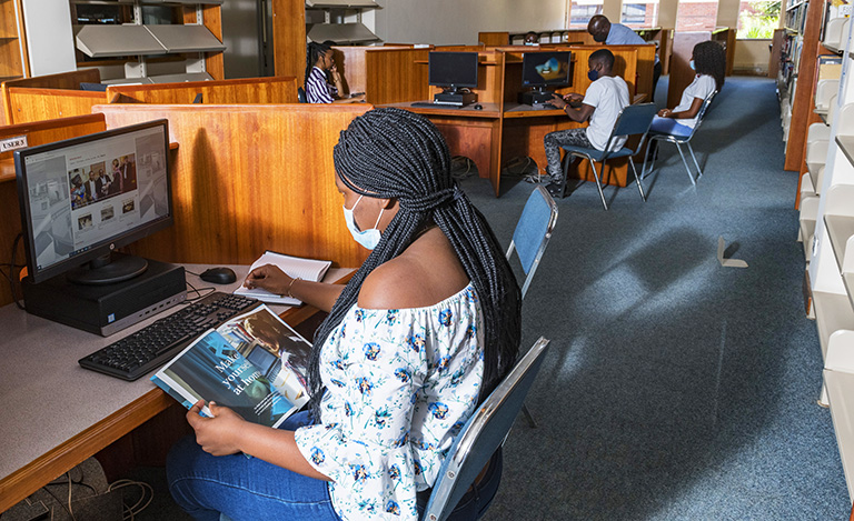 Africa University's main campus is a safe learning environment for more than 200 students who could not get home or access online learning from home.