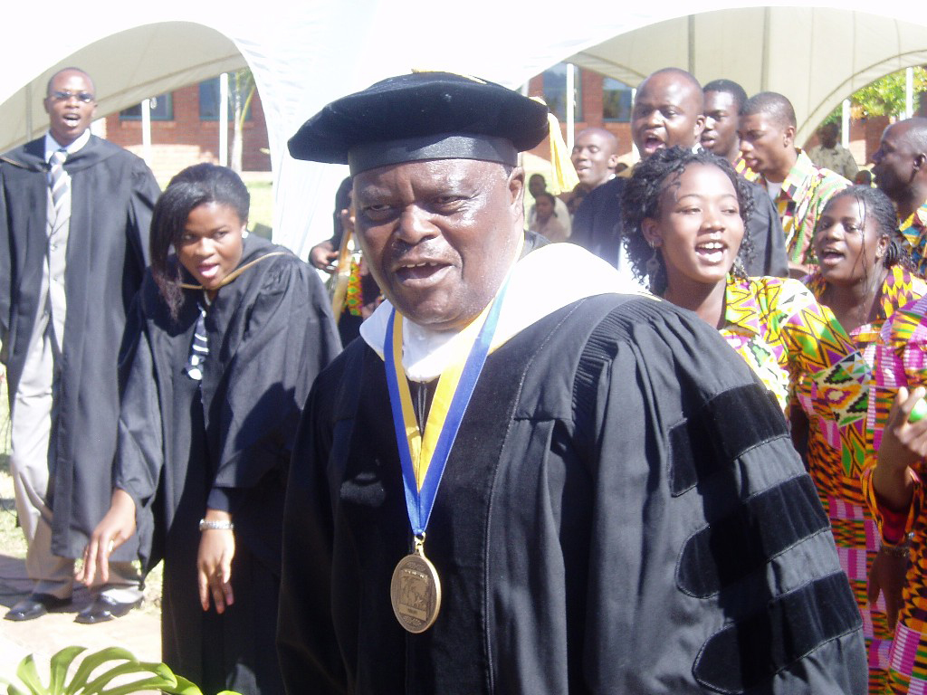"""Dr. Matsikenyiri performing the AU anthem, """"The Dream"""" at the institution's 20th anniversary celebrations."""