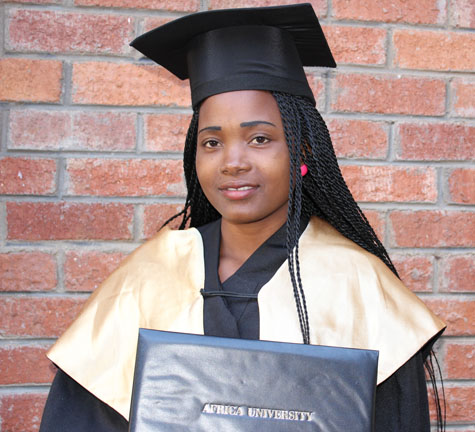 Priscah Fisho, a Zimbabwean, earned a Bachelor of Science with Education degree.