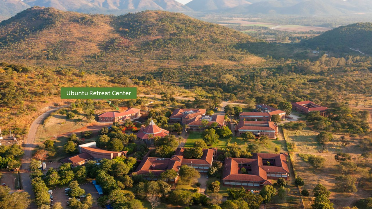 Aerial view, showing placement of the Ubuntu Center on the Africa University main campus.