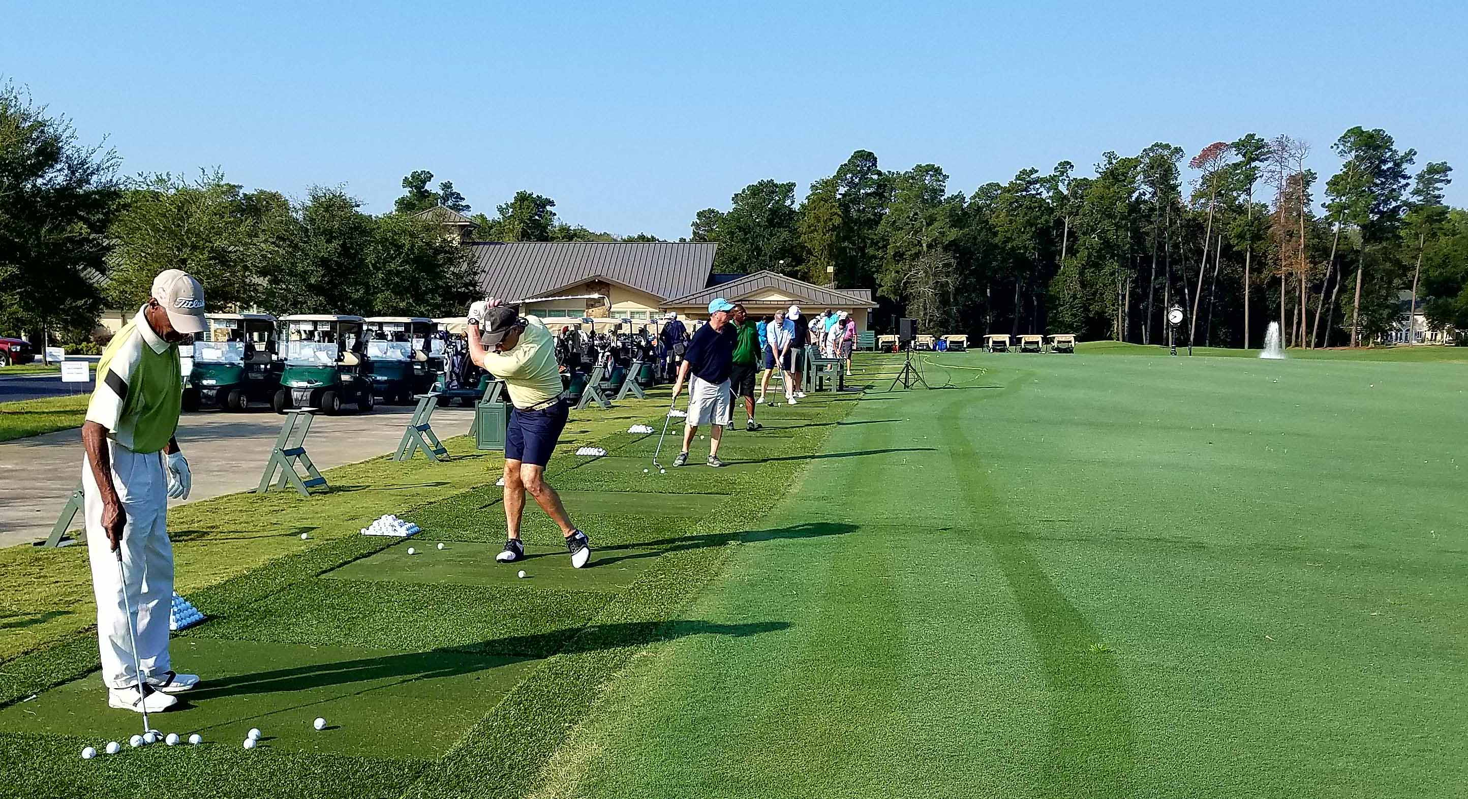 Golfers warm up at the start of the 2019 Bishop Holston AU-SC Golf Classic at the Orangeburg Country Club in September.