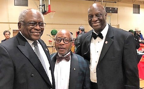 U.S. Congressman Jim Clyburn with scholarship gala organizer, Rev. J. Elbert Williams, and AU's chief advancement officer, James H. Salley.